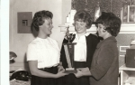 Vicki Carlson, Peggy Cahill, and Karen Austin. . . not sure what the trophy was for.